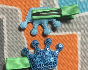 Blue Sequin Crown Clips Set of 2