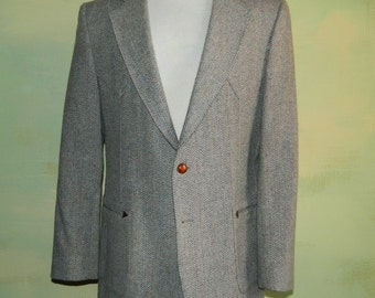 40 Vintage H Bar C California Ranchwear Sport Coat Gray Herringbone Tweed Wool Jacket Western Sport Coat