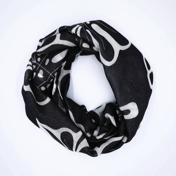 Infinity scarf black and white, monstera original graphic, wool viscose