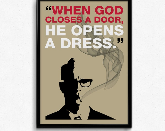 Mad Men Poster Roger Sterling Quote - Closes door, opens dress - Art Print, Multiple Sizes - 8x10 to 24x36 - Vintage Style Minimal