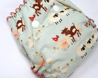 NEWBORN CLOTH DIAPER (6-12#) Waterproof AI2 w/Bamboo Hemp // farm,cow,chickens,pig,animal,nb,newborn diaper,reusable diaper,gift,baby,shower
