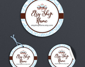 Cupcake Product Tags - Product Labels - Printable Round Label  or Hang Tag Design -  Cupcake Delight 3-  Personalized Digital File