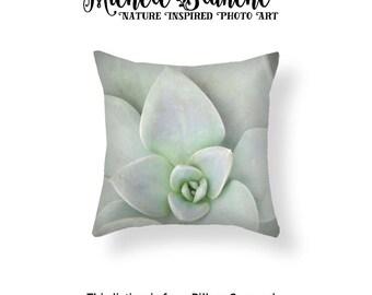 Photo Sedum Pillow, Pastel Green Pillow Case, Sea foam Green Throw Pillow, Mint Green Pillow, Sage Green Photo Pillow Throw Pillow and Cover