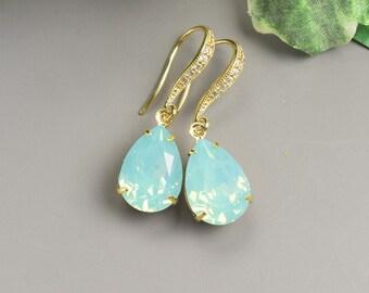 Mint Earrings Gold Swarovski Earrings for Bridesmaids Crystal Wedding Earrings Bridesmaid Jewelry Bridal Crystal Teardrop Earrings