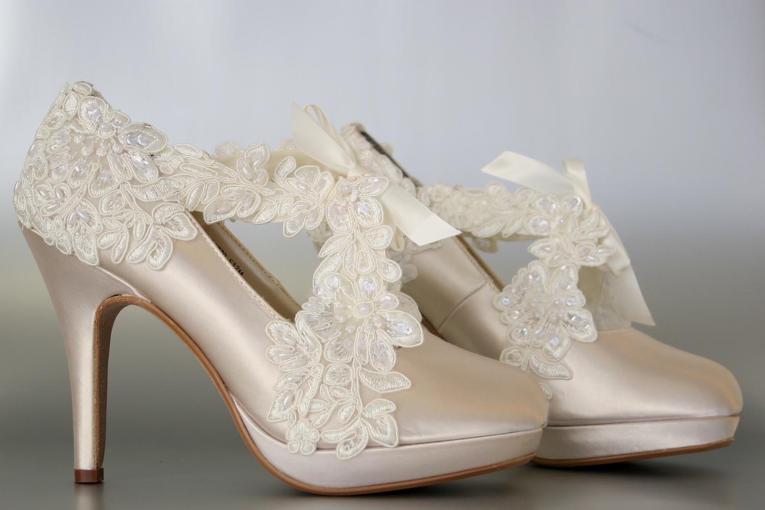 Wedding Shoes Champagne Platform With A Ivory