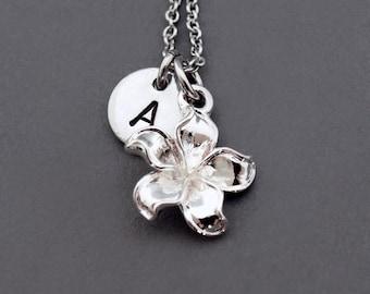 Frangipani necklace, Silver frangipani, Plumeria, antique silver, initial necklace, initial hand stamped, personalized, monogram
