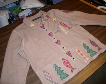 Ladies Clay Beige Jacket by Reference Point with Hearts, Fish, Trees, & Stars Appliqué by Emanuel's Wearable art.