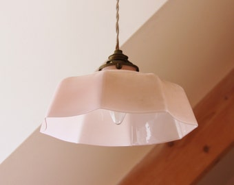 Antique Lampshade french Art Deco pink and white lamp opaline pending 1930 s glass blown 8 pans-ready to ask/illuminati10