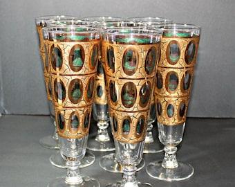 Culver Glasses,Set of 8 Culver Glasses,Pisa Culver Glasses,Culver 22K Gold,Golden Stem Glasses,Gold Stem Glasses,Culver Stemmed Glass,Culver