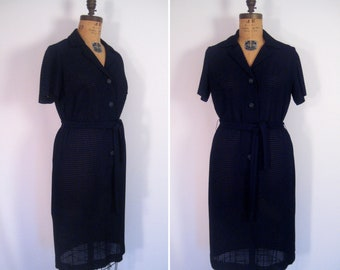 1960s navy eyelet lace dress • vintage 60s sheer ink blue day dress