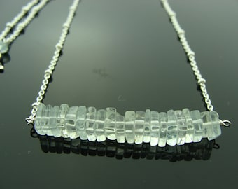 Genuine Aquamarine 925 Sterling Silver Necklace