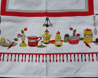 Vintage Tablecloth MCM Mid Century Modern Spoons Forks Condiments