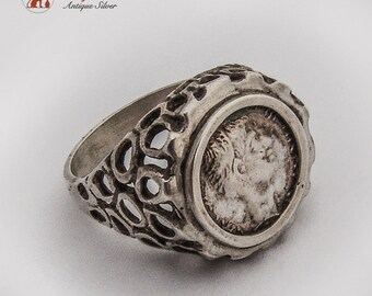 Unusual Openwork Design Medallion Ring Sterling Silver