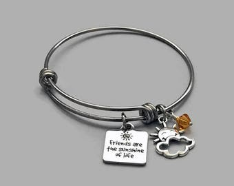 Friends Are The Sunshine Of Life Bracelet, Friendship Bracelet, Friends Bracelet, Friends Charm, Friendship Charm, Best Friends, Sun Charm