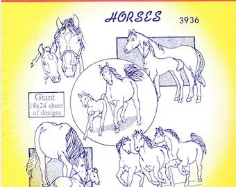Vintage Aunt Martha's Hot Iron Transfers, Embroidery, Pattern, Needlepoint, Fabric Painting, Quilting, Aunt Martha, 3936, Horses