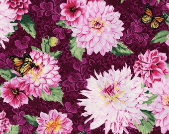 RJR Berry Wine and Pink Dahlia Floral Newport Place Westcliff Aubergine 3258-001 Cotton Quilting Fabric by the Half Yard - DLP