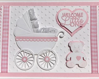 3D New Baby Girl Card, Unique Handmade Baby Card, Hand Made Baby Carriage Card, Luxury  Baby Card, Personalized Baby Card,New Baby Pram Card