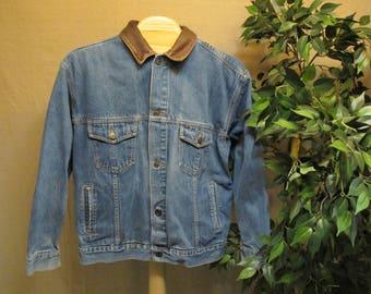 Vintage 1980's Marlboro Country Store Dark Blue Denim & Brown Leather Trucker Western Classic Jean Jacket Size XL