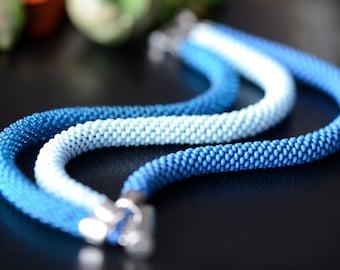 Blue beaded bracelet - Bead crochet bracelet, Three strand bracelet, Seed beads bracelet, Casual style, Handmade jewelry, Blue rope bracelet