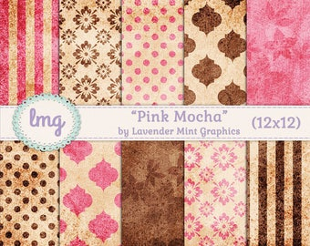 "Pink and Brown Digital Scrapbooking Paper - ""Pink Mocha"" - Vintage Rustic Background, Shabby Chic, Polka Dots, Damask, Stripes, Floral, CU"