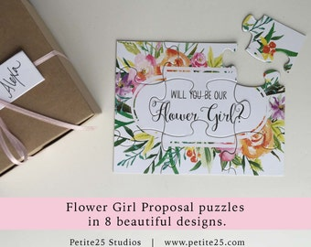 PUZZLE- Will You Be our Flower Girl, bridal party proposal, my flower girl card, invitation, watercolor flowers, wild flowers