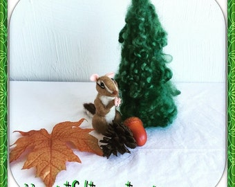 Needle Felted Chipmunk - Needle Felted Animal - Fall Decoration