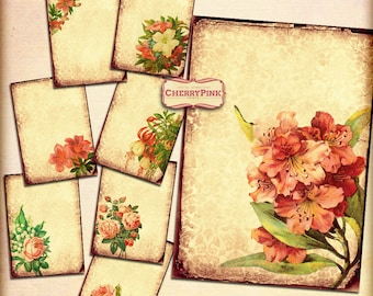FLOWERS ATC vintage images, yellow antique digital background, shabby chic vintage papers, printable collage sheet, instant download
