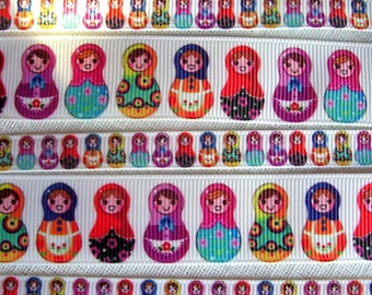 Printed grosgrain Ribbon * 10 / 22 / 25 mm * Russian Matryoshka NESTING dolls - sold by the yard