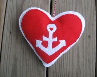 ANCHOR heart hanger applique ornament