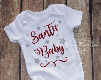 Santa Baby Christmas Outfit- First Christmas Outfit- Holiday Outfit- 1st Christmas- Santa Baby- Christmas Outfit- Miss December- Photo Prop
