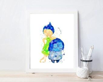 inside out, watercolor, disney watercolor, pixar, watercolor, disney nursery, kids room decor,joy, sadness,print, kids party decor,printable