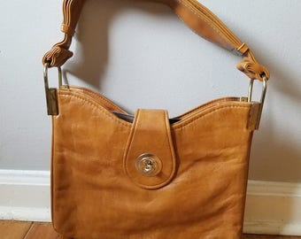 PRICE REDUCED! Vintage Faux Leather Tan Purse with Flap and Adjustable Shoulder Strap