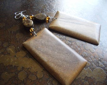 Woodhaven Wood Glass and Bronzite earrings