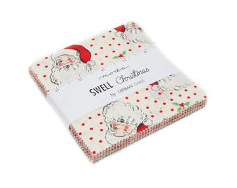 Swell Charm Pack by Urban Chiks for Moda Fabrics - 40, 5 inch squares - 100% Cotton - Vintage Christmas holiday fabric, santa claus
