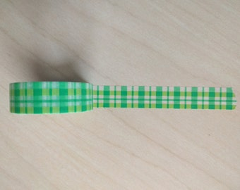 Green plaid washi sample 24 inches