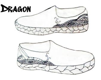Dragon themed hand painted canvas shoes