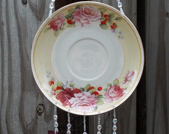 Pink and Red Roses on Saucer, Upcycled into Windchime with Cranberry Stained Glass Chimes