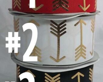 """3"""" Gold Arrows Grosgrain Ribbon"""