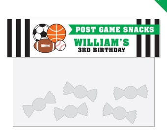 All-Star Sports Party - Personalized DIY printable treat bag label - Choose green, blue or red