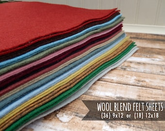 Wool Felt Sheets - You Choose Size 36 - 9x12 or 18 - 12x18 - 6 New Colors for 2017