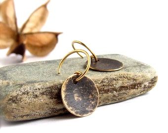 Black Gold Dangle Drop Earrings Rustic Patina Textured Brass Round Circle Boho Jewellery