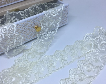 Lace ribbons embroidery beige width 50 mm