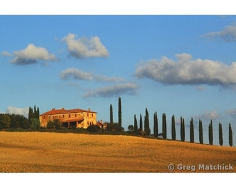 "Fine Art Color Landscape Photography of Tuscany - ""Farmhouse and Ridge of Cypress Trees"""