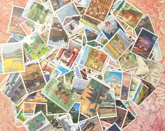 JaPaN ARcHiTuRe, HouSes, BuiLDings MiX Used Postage Stamp Lot of 30+ All Different Beautiful! Nice in Travelers Notebook, Junk Art Journals.