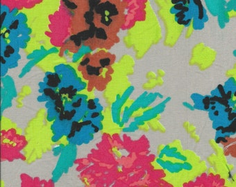 "DISCOUNT**FLAWS**Neon/Bright Green/Blue/Red Flowers on Grey Linen Fabric. 54"" wide. 3 yards."