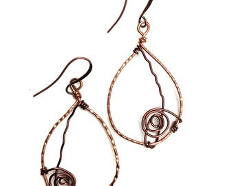 Unique Handmade Copper Earrings with Spiral Detail,  Hammered Copper Earrings, Dangle Earrings, Boho Earrings, Unique Handmade Jewelry