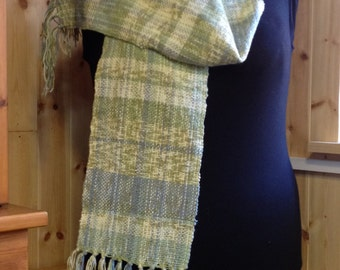 Beautiful, Soft, Hand Woven Scarf in Muted Blues and Green