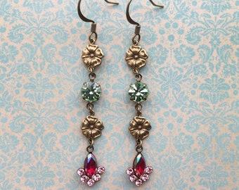 Delicate Flower Earrings - Long Dangle Earrings - Flower Jewelry - Flower Drop Earrings - Vintage Rhinestone Earrings - Delicate Jewelry