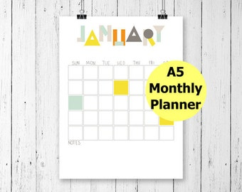Filofax A5 Printable, Half Page Planner, A5 Monthly Calendar, Monthly Planner Printable, Filofax A5 Inserts, Planner Pages, Undated Planner