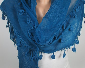 Tulle scarf Teal Blue Scarf Shawl Tassel Scarf Women Fashion Accessories Gift Ideas For Her Christmas Gift  Holiday Gift